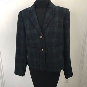 Plaid wool Cartonnier wool blend jacket Size 10